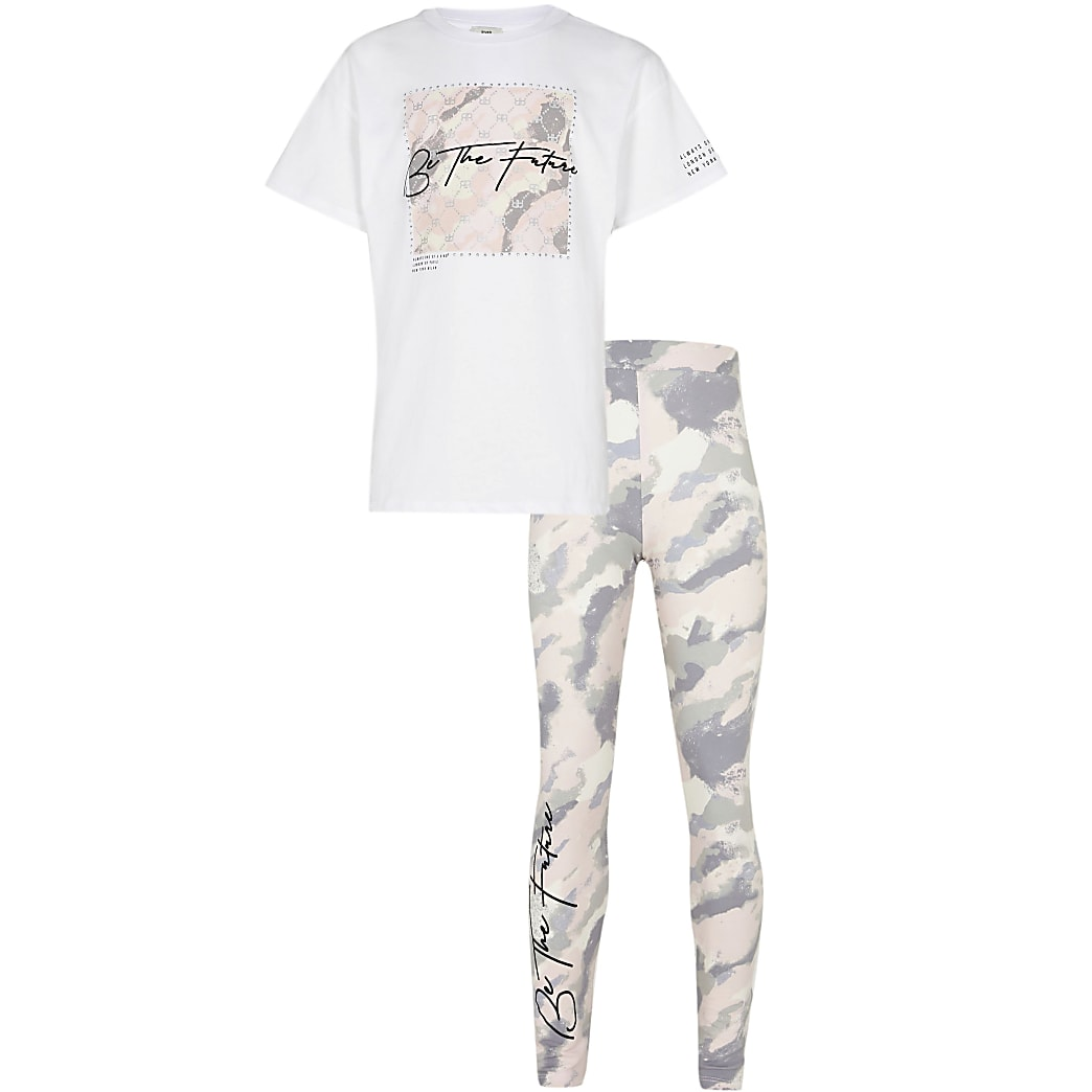 Age 13+ girls pink camo leggings outfit