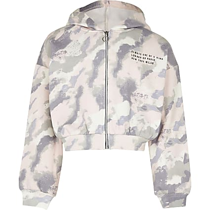 Age 13+ girls pink camo zip through hoodie