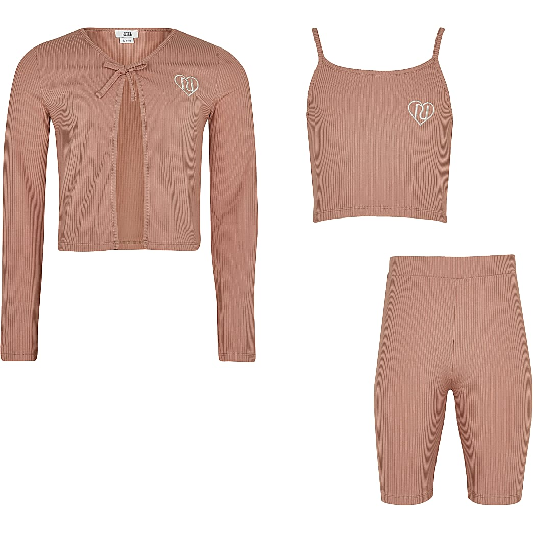 Age 13+ girls pink cardigan 3 piece outfit