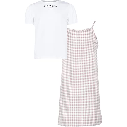 Age 13+ girls pink check dress outfit