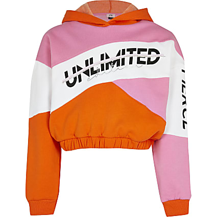 Age 13+ girls pink colour block sweatshirt