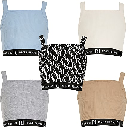 Age 13+ girls pink crop tops 5 pack