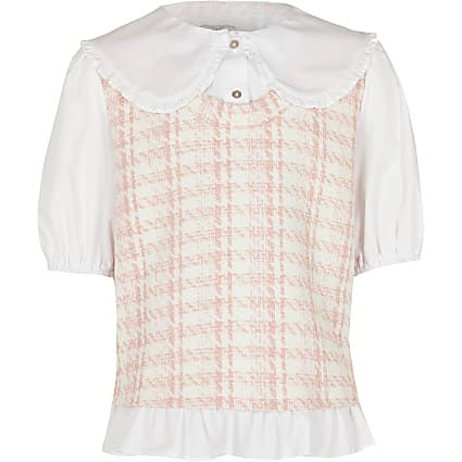 Age 13+ girls pink dogtooth tabard shirt