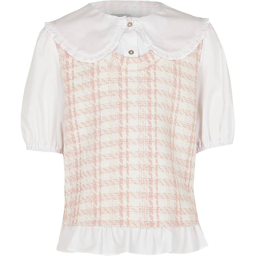 Age 13+ girls pink dogtooth tabard shirt