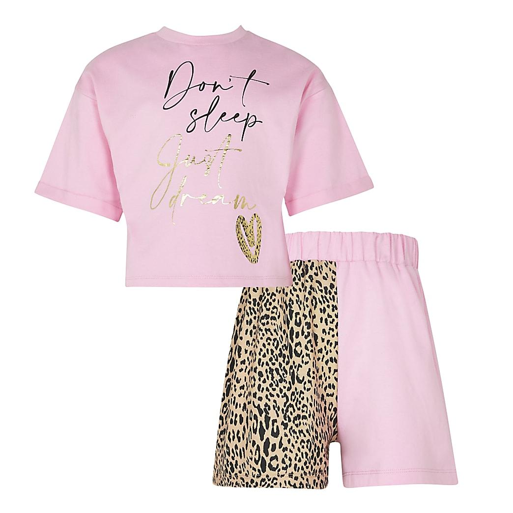Age 13+ girls pink 'Don't sleep' pyjamas set