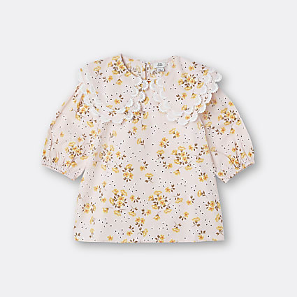 Age 13+ girls pink floral double collared top
