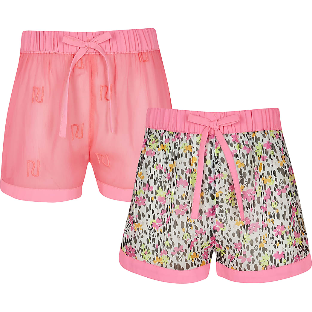 Age 13+ girls pink floral shorts 2 pack