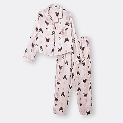 Age 13+ girls pink frenchie print pyjama set