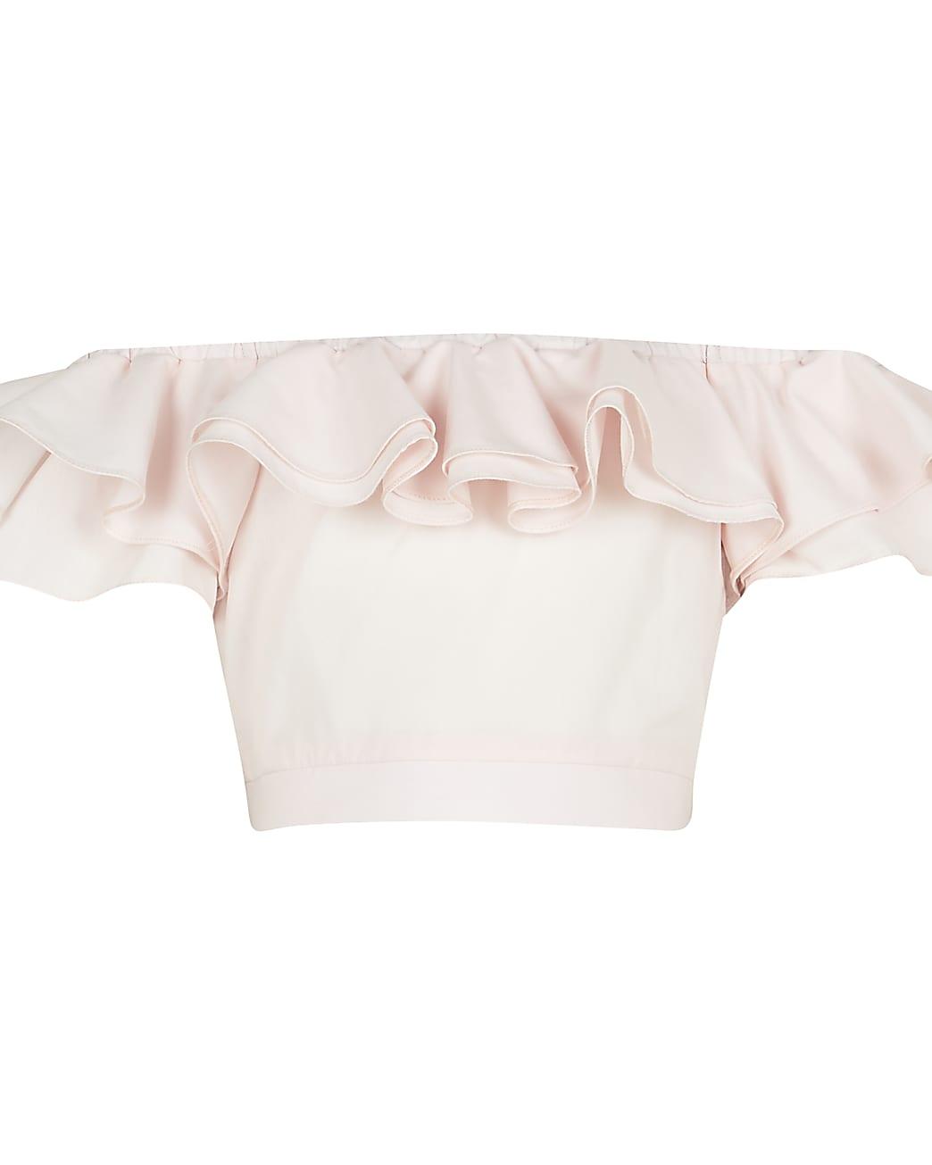 Age 13+ girls pink frill bardot neck crop top