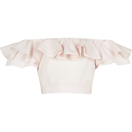 Age 13+ girls pink frill bardot neck crop top