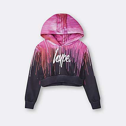 Age 13+ girls pink Hype drip print hoodie