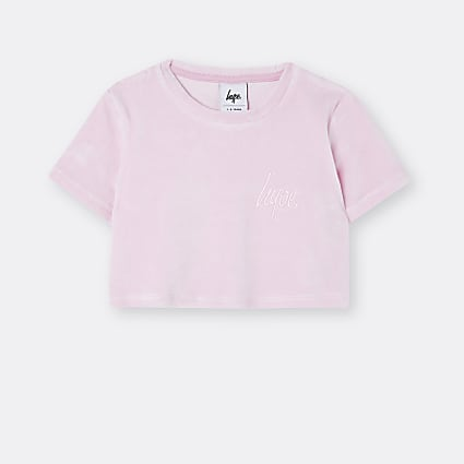 Age 13+ girls pink Hype velour crop top