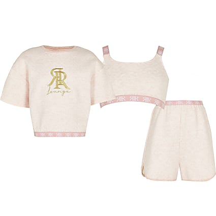 Age 13+ girls pink quilted piece lounge Set