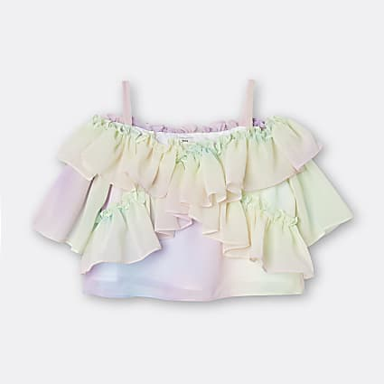 Age 13+ girls pink rainbow frill blouse top