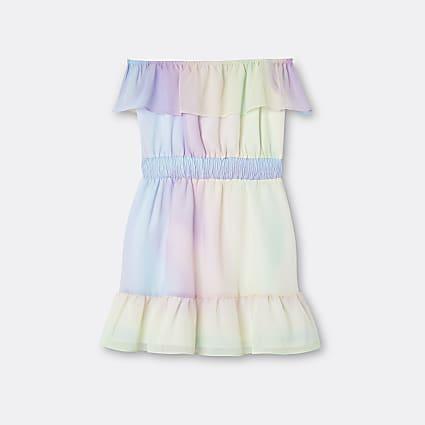 Age 13+ girls pink rainbow frill hem dress