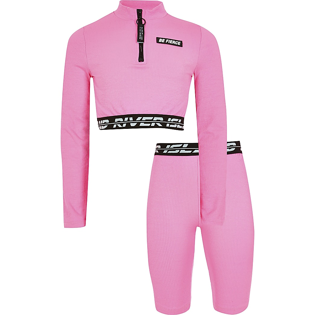 Age 13+ girls pink RI Active crop top outfit