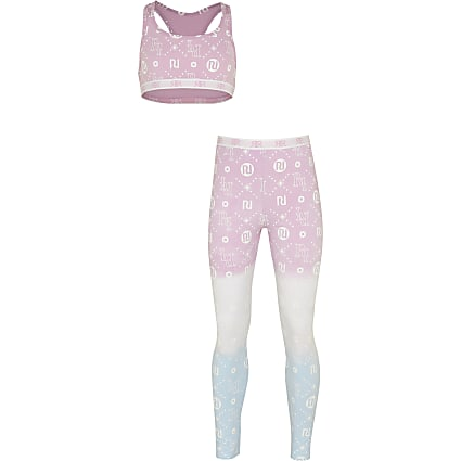 Age 13+ girls pink RI crop top and leggings