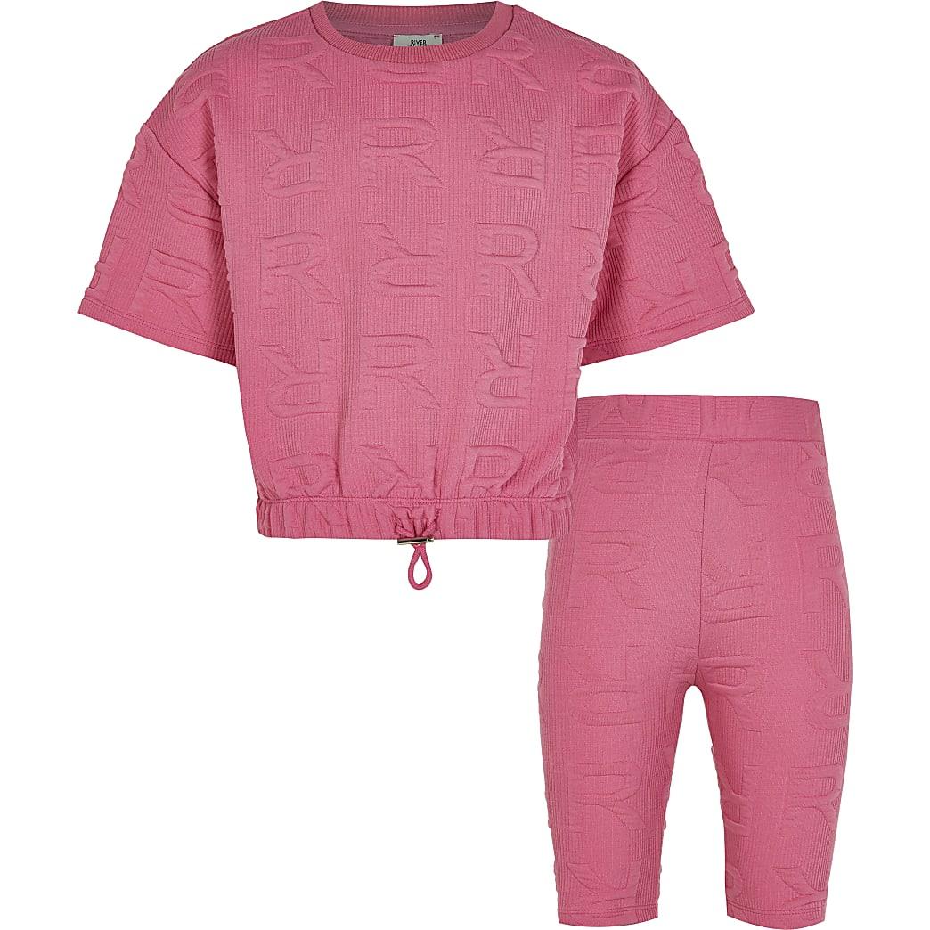 Age 13+ girls pink RI cycling shorts outfit