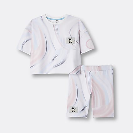 Age 13+ girls pink RI marble t-shirt outfit