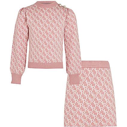 Age 13+ girls pink RI monogram skirt outfit