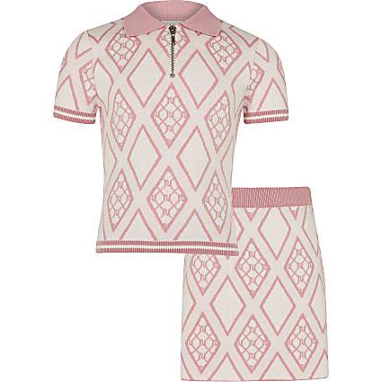 Age 13+ girls pink RI polo top and skirt set