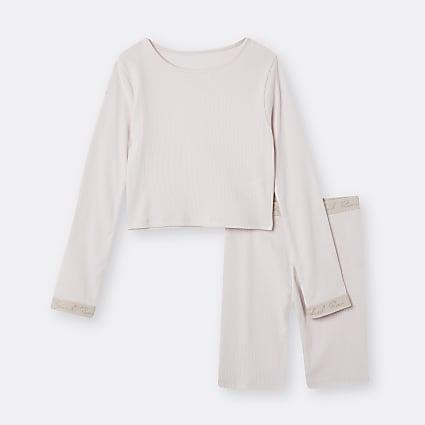 Age 13+ girls pink RI top and shorts set