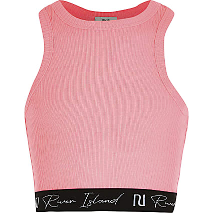 Age 13+ girls pink ribbed  crop top