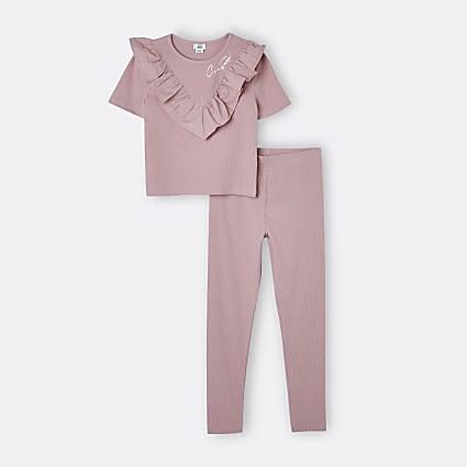 Age 13+ girls pink ribbed frill legging set