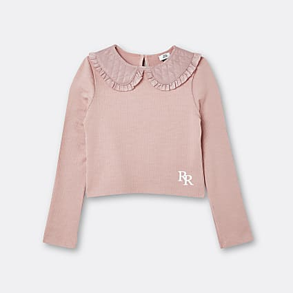 Age 13+ girls pink RR quilted collar top