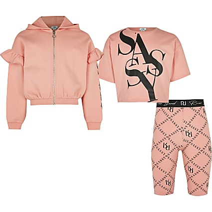 Age 13+ girls pink 'Sassy' 3 piece outfit