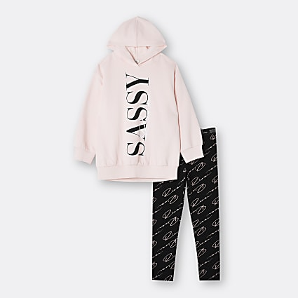 Age 13+ girls pink 'Sassy' hoodie outfit