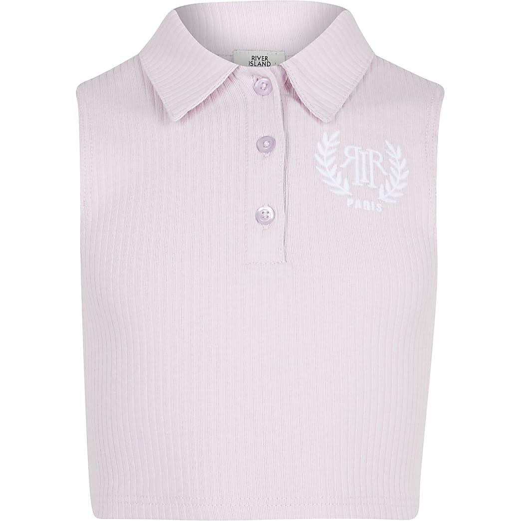 Age 13+ girls pink sleeveless collar top