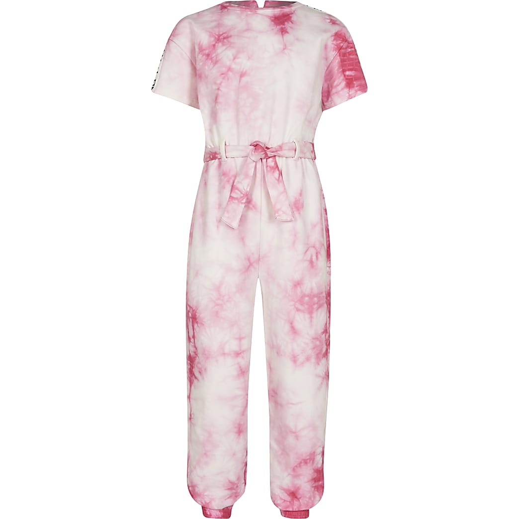 Age 13+ girls pink tie dye jumpsuit
