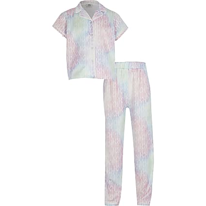 Age 13+ girls pink tie dye pyjamas