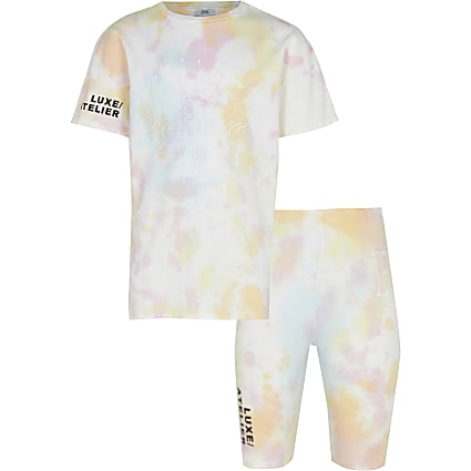 Age 13+ girls pink tie dye t-shirt outfit