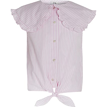 Age 13+ girls pink tie front blouse top