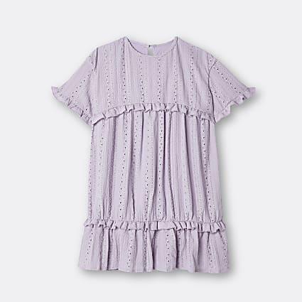 Age 13+ girls purple broderie frill dress