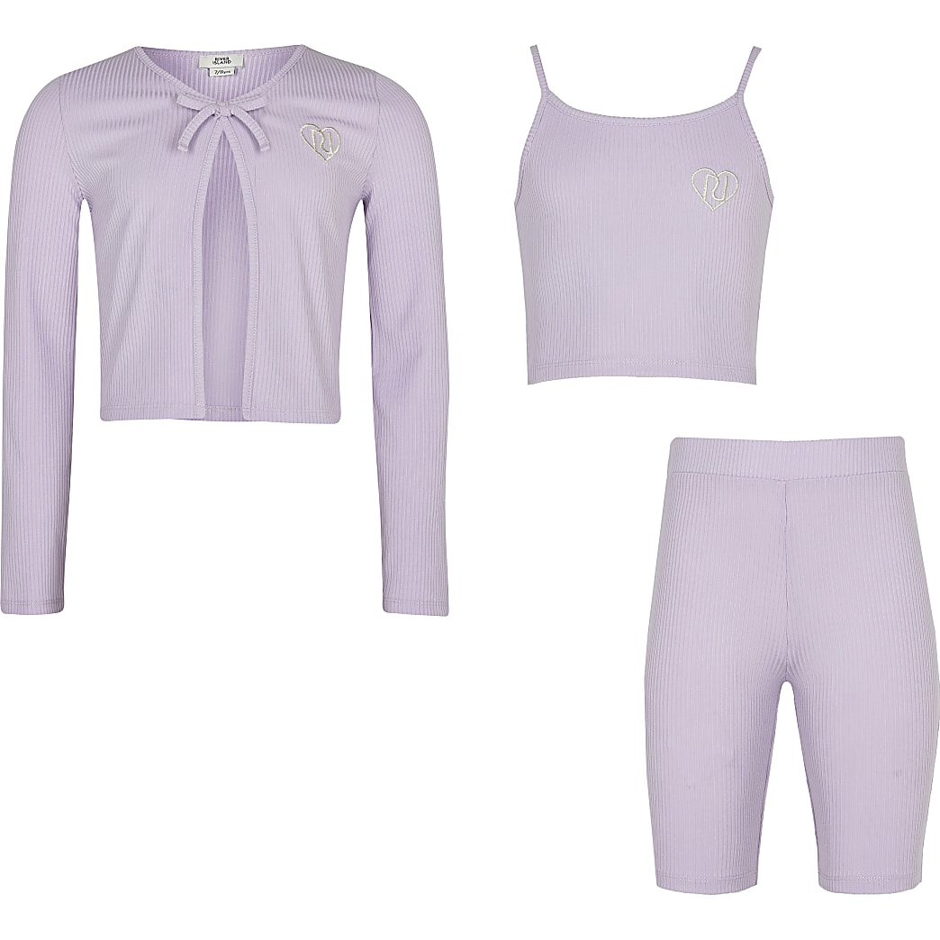 Age 13+ girls purple cardigan 3 piece outfit