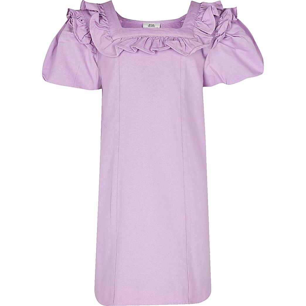 Age 13+ girls purple denim shirt dress
