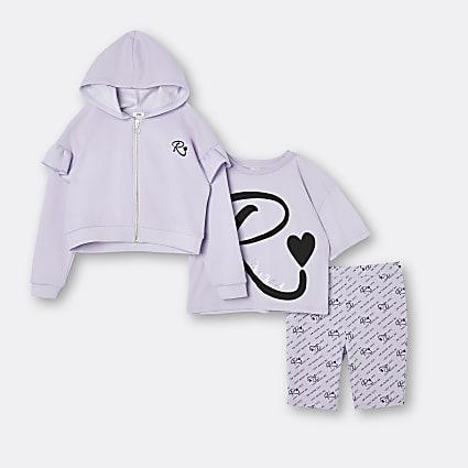 Age 13+ girls purple RI hoodie 3 piece set