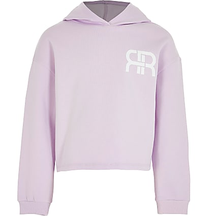 Age 13+ girls purple RR chest logo hoodie