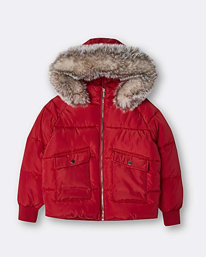 Age 13+ girls red faux fur hood puffer coat