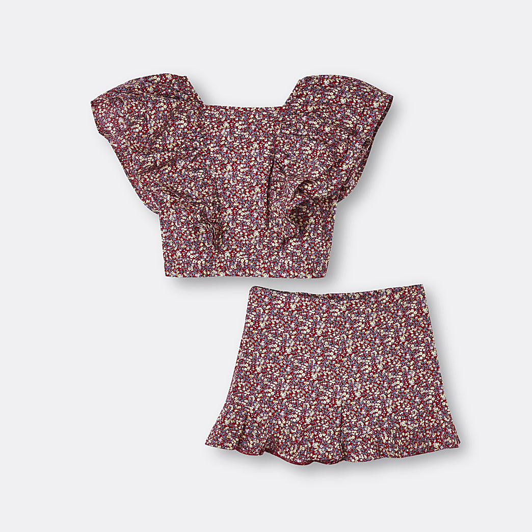 Age 13+ girls red floral top and short outfit