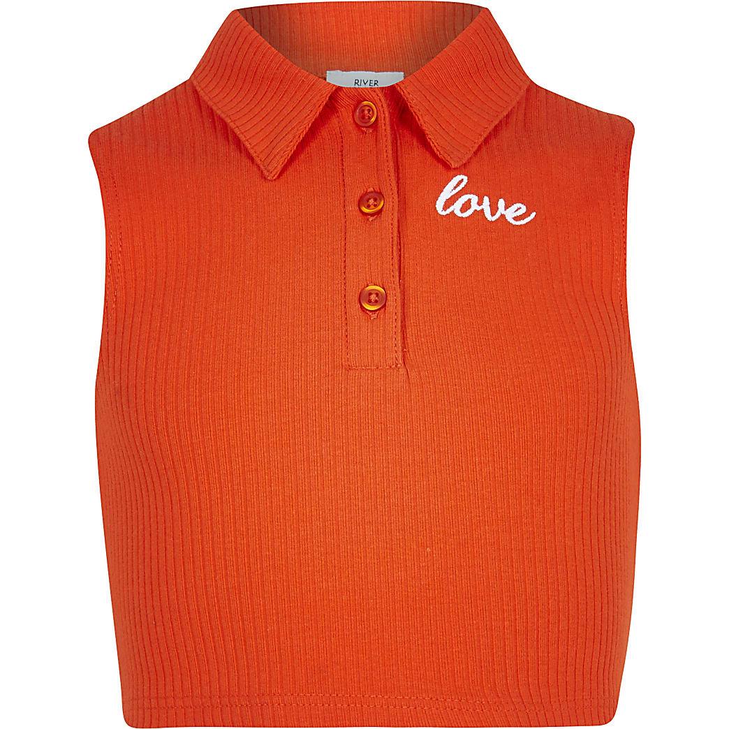 Age 13+ girls red sleeveless collar top