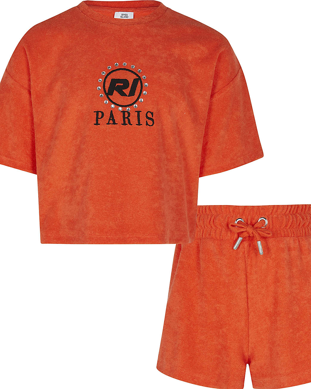 Age 13+ girls red towelling shorts outfit