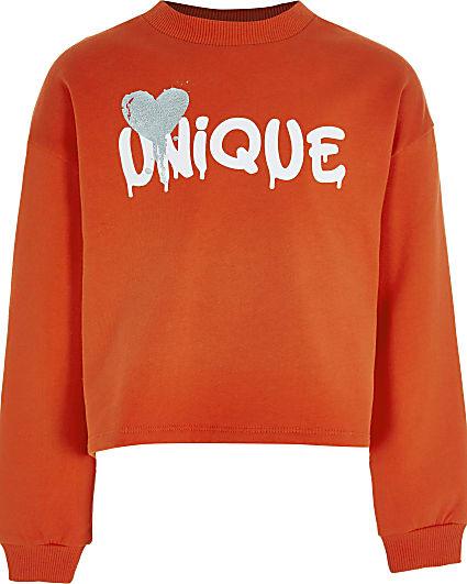 Age 13+ girls red 'Unique' print sweatshirt