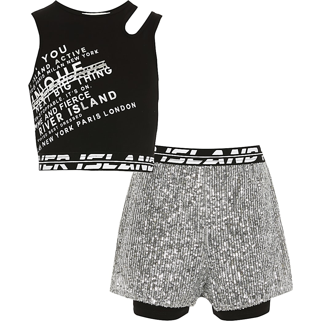 Age 13+ girls silver RI Active short outfit