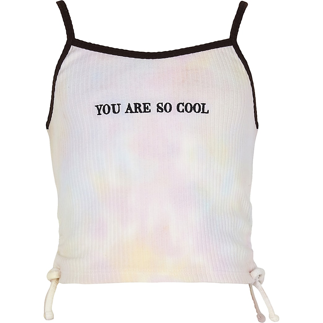 Age 13+ girls tie dye ruched cami top