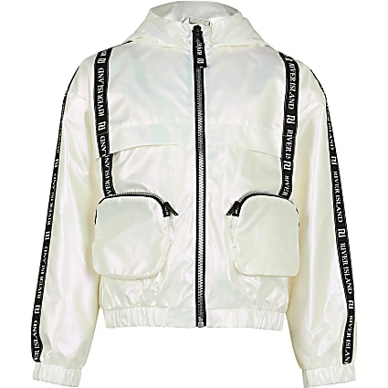 Age 13+ girls white 3D pocket bomber jacket