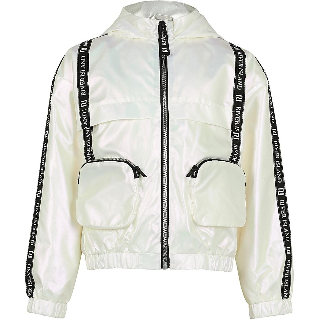 Age 13+ girls white 3D pocket bomber jacket